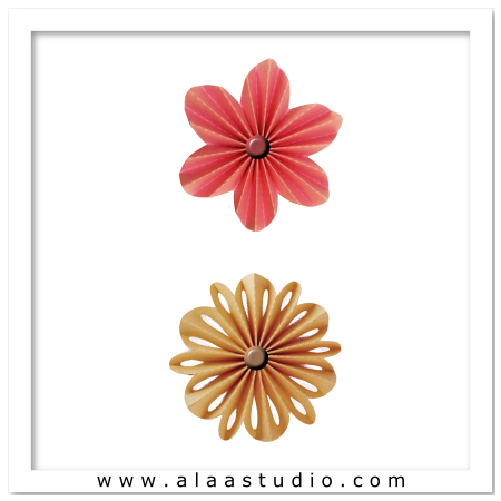 2 Pleated Rosette Flowers 2