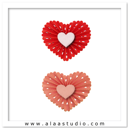 3 Pleated scalopped hearts