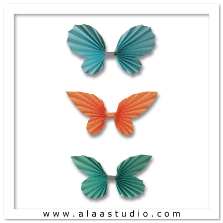 3D Pleated butterflies set 2