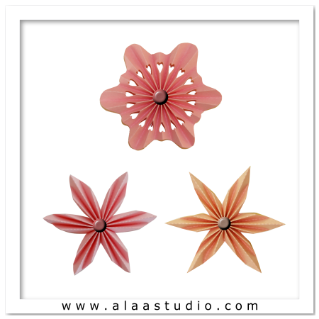 3 Pleated Rosette Flowers