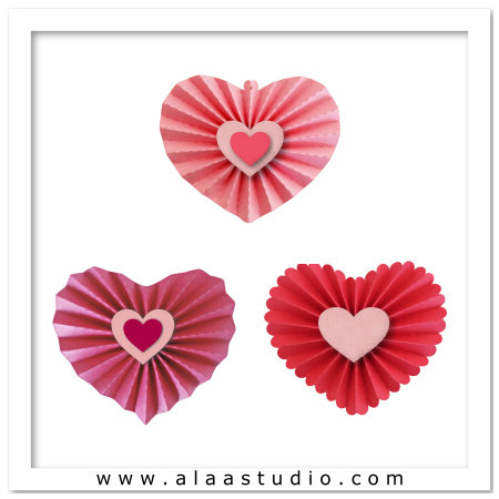 3 Pleated hearts