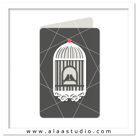 Cut out Bird cage card