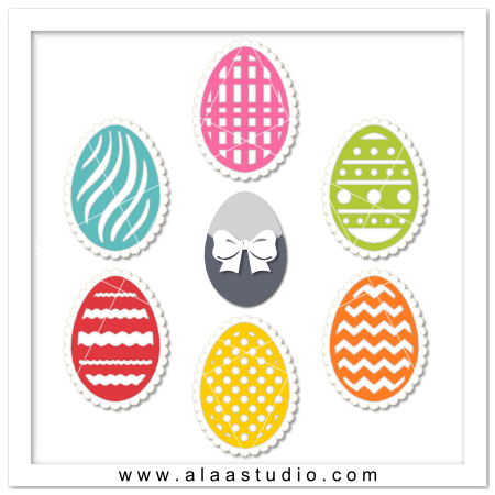 Decorative eggs with scalloped mat