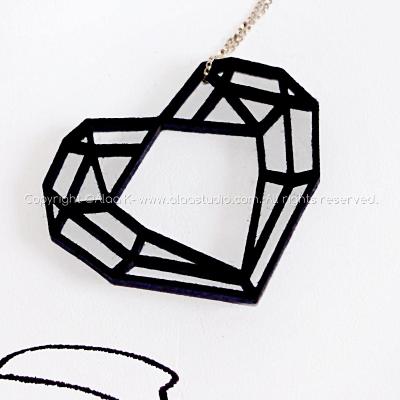 Black Diamond Heart Felt Pendant