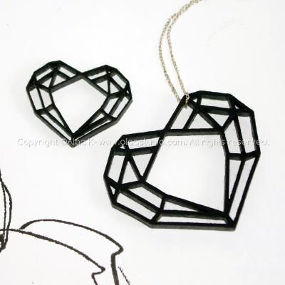 2 Black Diamond Heart Felt Pendants