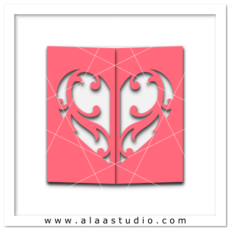 Flourish heart gate fold card