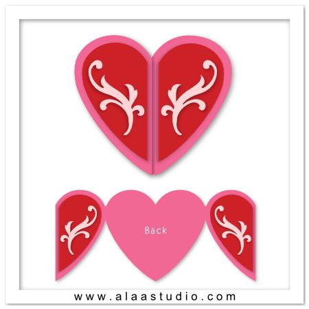 Heart shaped gate fold card
