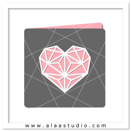 Geometric heart cutout card