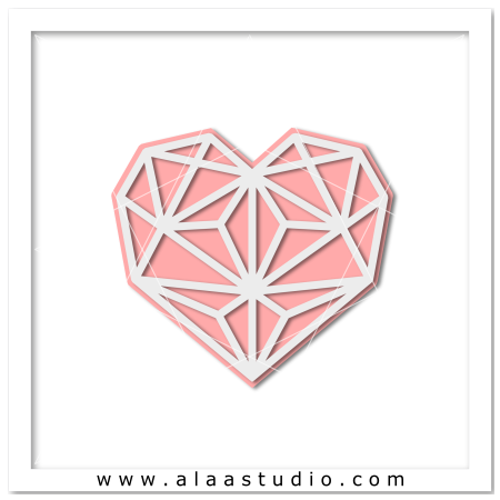 Geometric heart cutout