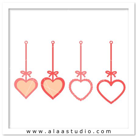 4 Hanging heart frames
