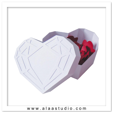 Diamond heart shaped box