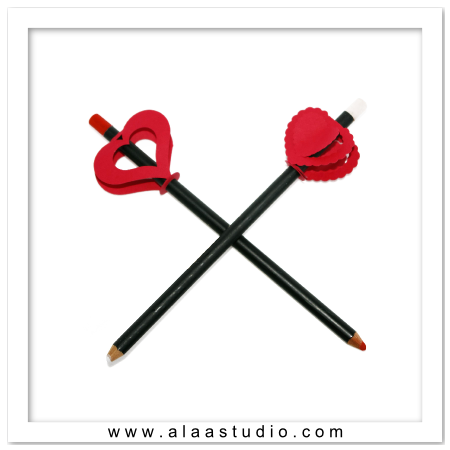 2 Hearts Pencil toppers