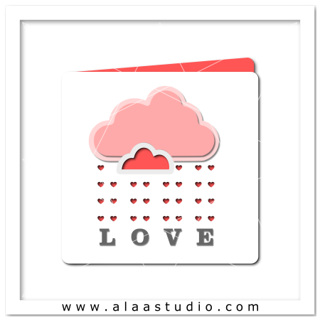 Heart rain cloud card