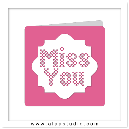 Miss You lattice cut out card
