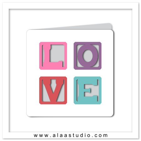 LOVE blocks cut out card