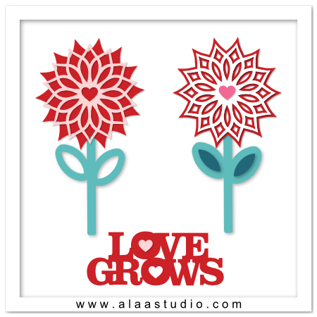 Love grows cut out flowers