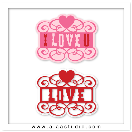 Love heart cut out scrolls