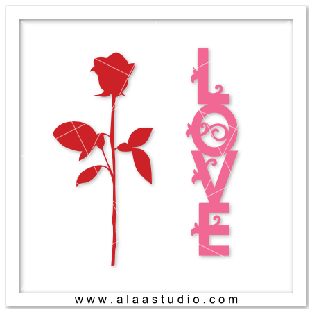 Flourish love word & rose