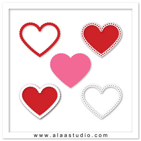 Scalloped hearts & frames