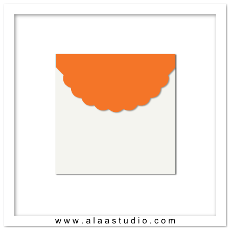 Scalloped square envelope
