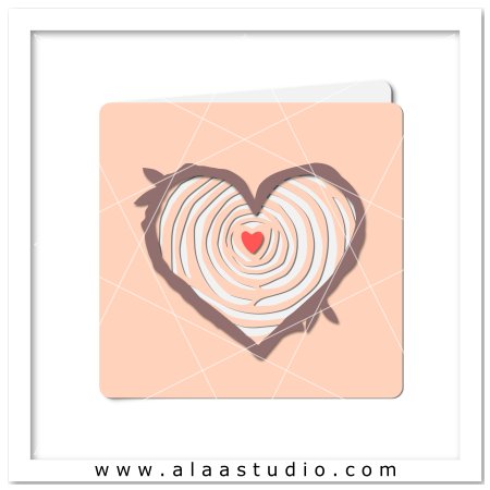 Tree rings heart card