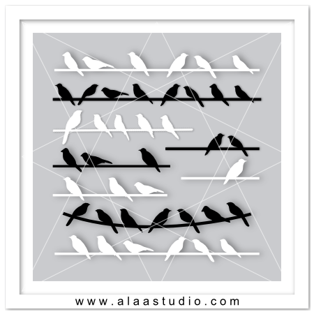 Birds on wire set