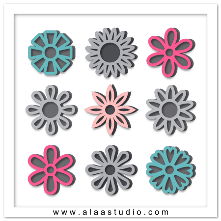 Outline flowers with mats 1