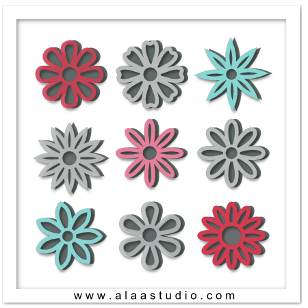 Outline flowers with mats 2