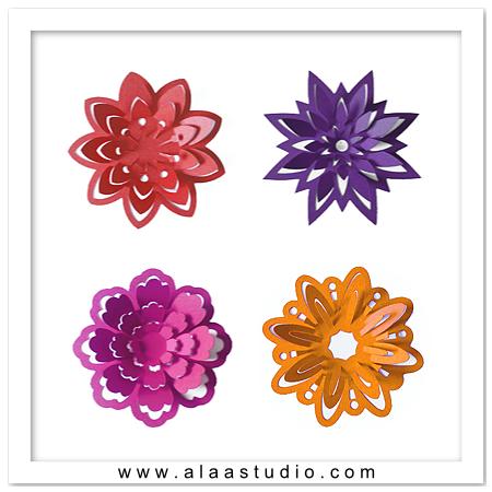 3D Pop out flowers set 1
