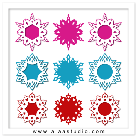 Snowflakes frames with mats