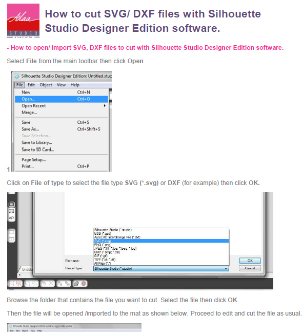 How to cut SVG/ DXF files with Silhouette Studio Designer Edition