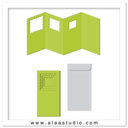 Nested scalloped square windows card
