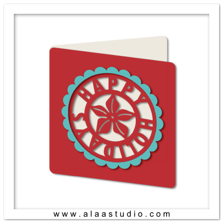 Poinsettia holiday cutout card