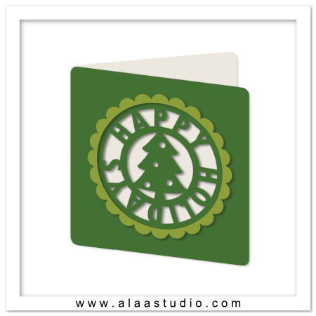 Tree holiday cutout card