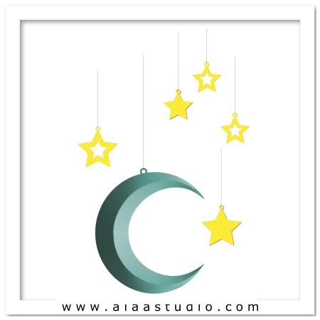 3D Hanging moon w stars