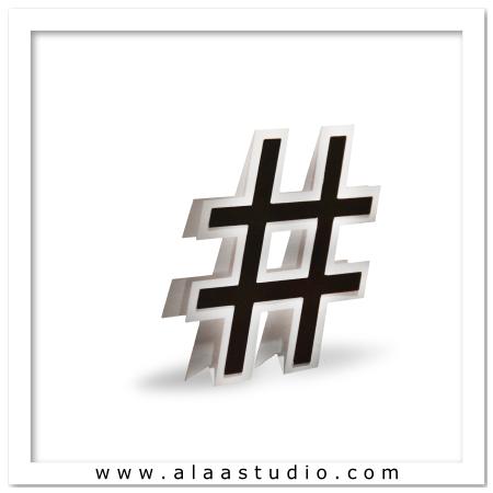 3D Flat fold Hashtag