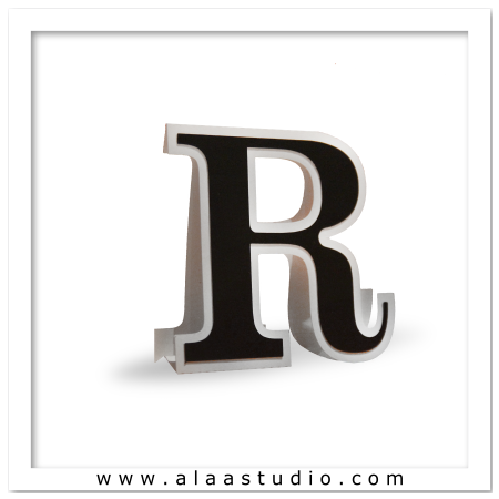 3D Flat fold letter R