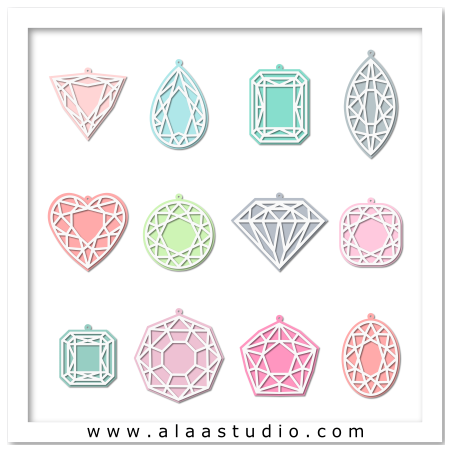 Gems ornaments tags