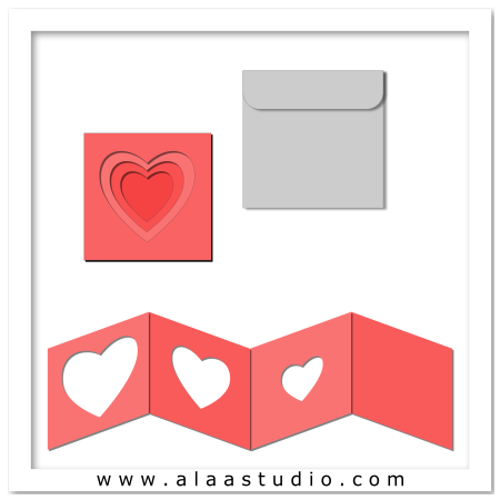 Nested hearts card w envelope