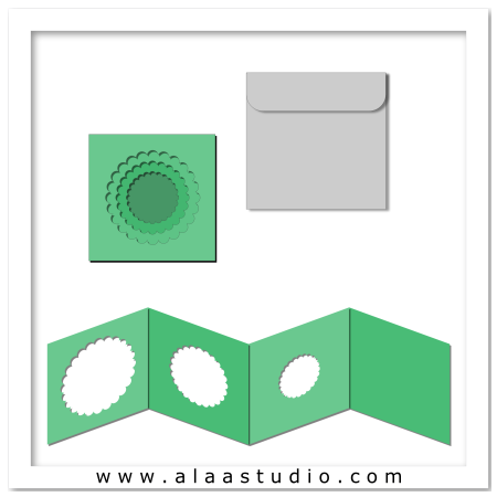Scalloped circles card w envelope