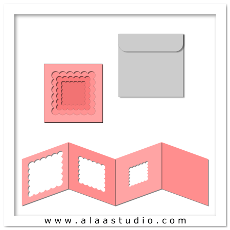 Scalloped square card w envelope