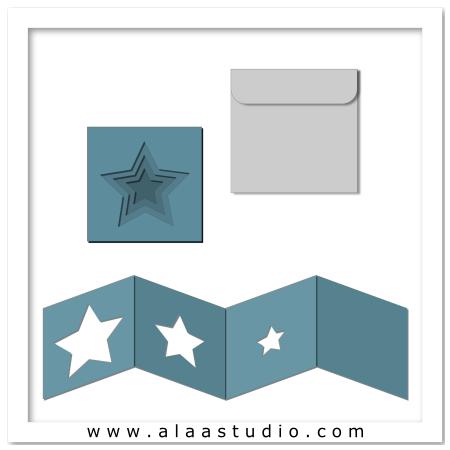 Nested stars card w envelope