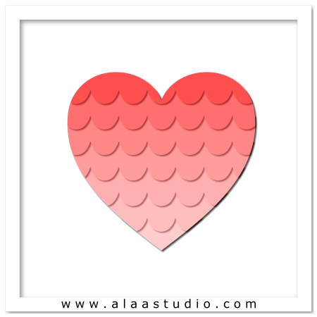 Layered scalloped heart