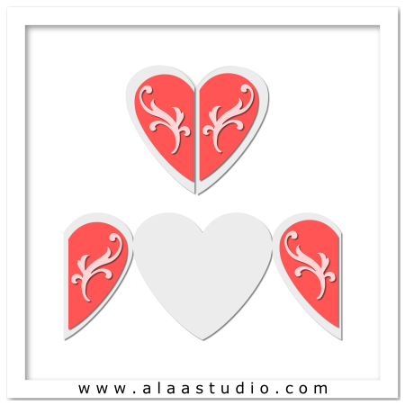 Heart shaped gate fold card