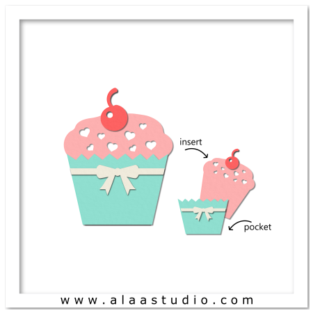 Cherry cupcake pocket card